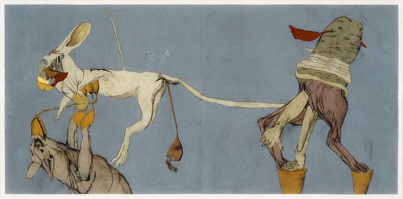 Max Wyse, « Les lièvres et leurs enfants » 2003 technique mixte sur plexi (diptyque) 246 cm x 142 cm