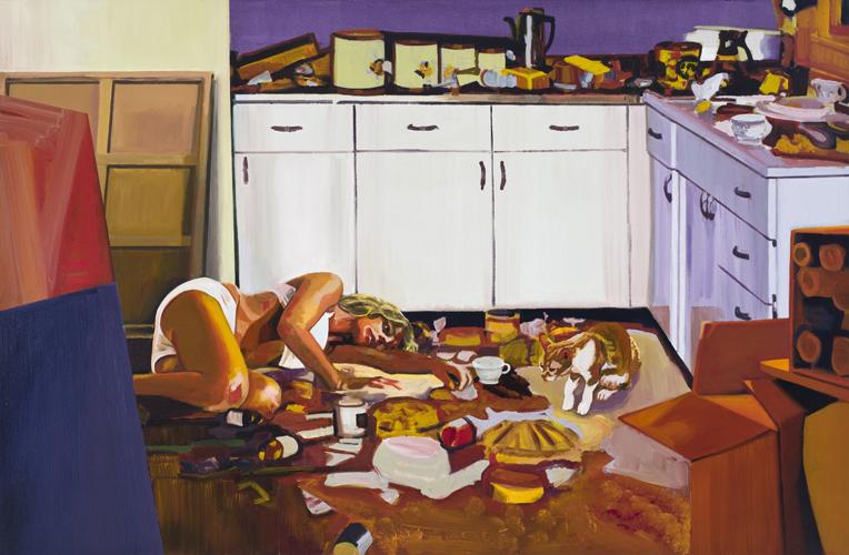 Christine Major - Cuisine rouge 2012 - Acrylique sur toile  131,5 x 198,5 cm