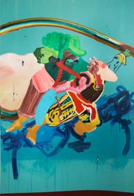 Nicolas RANELLUCCI, Deux par deux, une épée et le poétesse - 2010 Acrylique sur toile _ Acrylic on canvas 183 x 122 cm _ 72 x 48