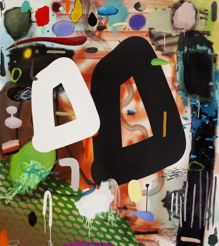 """Dan Brault, Je t'aime à la folie (pour Zack), Acrylique et huile sur canevas, 54""""x 48"""", 2013"""