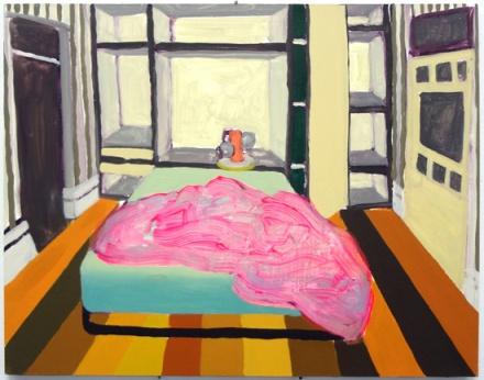 "Jessica Campbell, Murphy Bed  2012, huile sur panneau, 11""x14"""