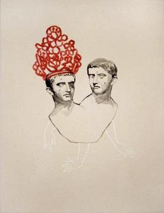 Natalie Reis Caligula twin heads Encre sur papier, 2008, 36 cm x 28 cm