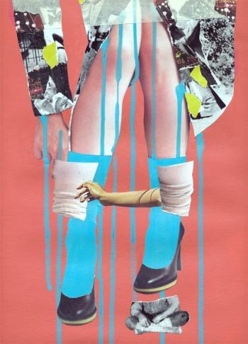 Jean-Francois Poisson, Bottes, 2012, collage et peinture, 11x17