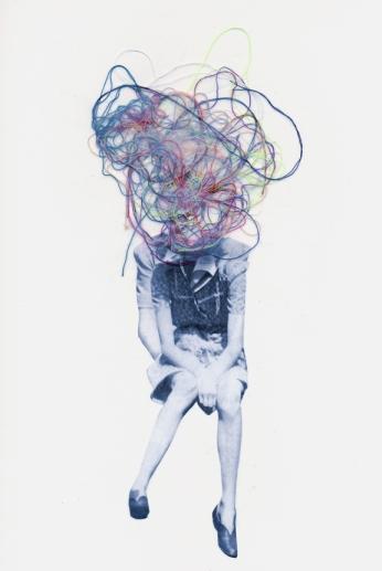 Jean-Francois Poisson, Sans titre, 2012, collage et fils, 8,5x11