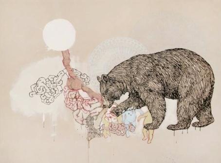 Natalie Reis Animalism Cannibalism Acrylique sur toile, 2011  183 cm x 245 cm  http://www.galerietroispoints.qc.ca/artistes/natalie-reis/