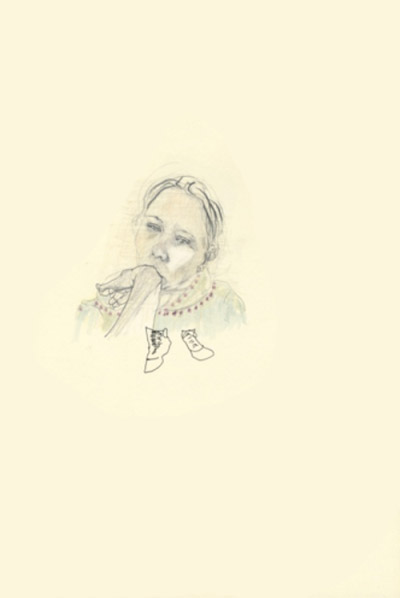 Belina Campbell, Soulier, Crayon sur papier, 2011-2012.