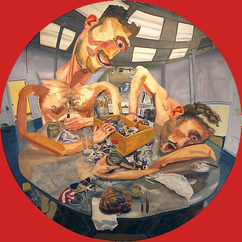 COLIN MUIR DORWARD, MEALTIME, Huile sur toile,  84 X 84 pouces, 2012.