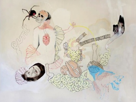 Natalie Reis, Toxic Cornucopia, Acrylique sur toile, 2010, 183 cm x 245 cm. http://www.galerietroispoints.qc.ca/artistes/natalie-reis/