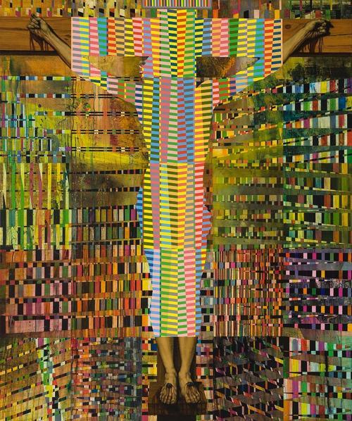 PAUL BOURGAULT, Crucifixion, 2012, collage, acrylique et huile sur toile. http://www.galeriedeste.com/artist/PAUL_BOURGAULT/works/