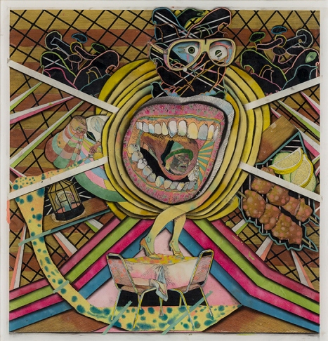 Max Wyse,Fever Cabin 2, 63.3 x 61 cm, Media mixe sur plexiglas, 2012