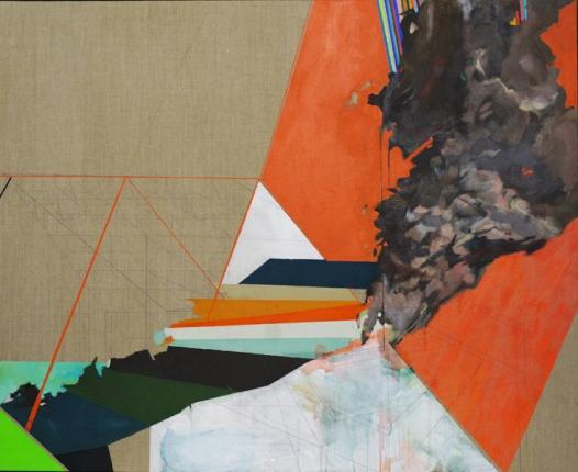 Andy Curlow, Vesuvius III, 2013, techniques mixtes sur toile.