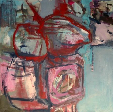 Geneviève Saumier, El anillo, acrylique sur toile, 100 x 100 cm