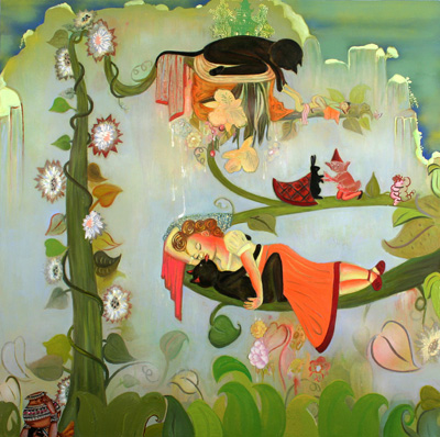 Phyllis Bramson, A dilly-dally-with-pretty-sally, huile sur toile, 60x60, 2006 http://www.philipsleingallery.com/#/gallery/
