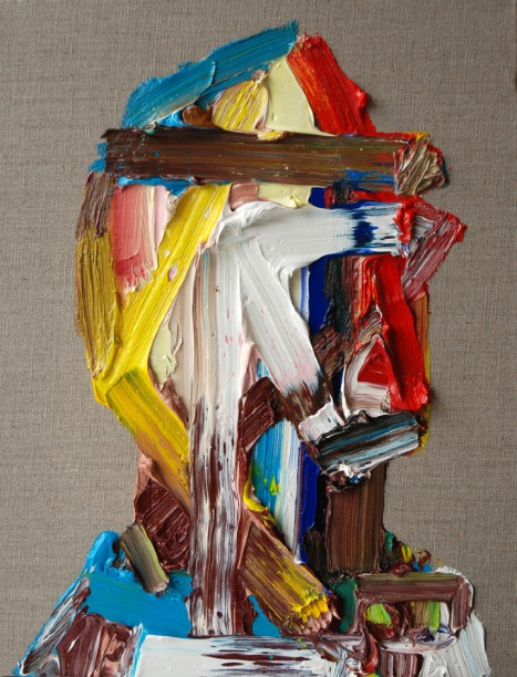 Erik Olson, Motorcycle Crash, huile sur lin, 20 x 16 pouces, 2009.