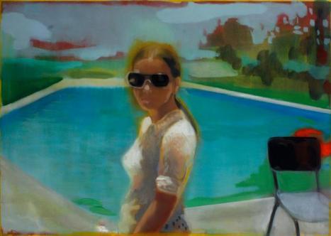 Kate Gottgens, Swimming pool Maputo 1978, Huile sur toile, 2012