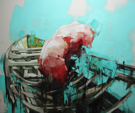 Benjamin Cohen, Study of a Figure and a Boat, huile sur toile, 66.9 x 78 in, 2012