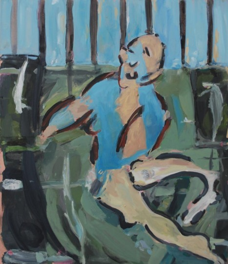 Kate Groobey, The Fence, Huile sur toile, 150 x 130 cm, 2010