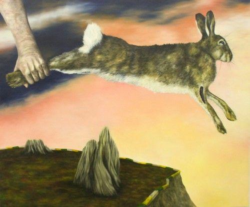 The lagomorphic papal peril, Dermot Seymour, 2011, huile sur toile, 100cm x 120cm