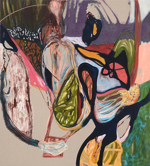 Sarah Dwer, Mougouch, huile sur lin, 204 x 185 cm, 2012