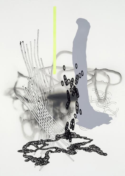 Jean-Sébastien Denis, Amalgame # 13-03, 2013, technique mixte sur Mylar, 144 cm x 104 cm